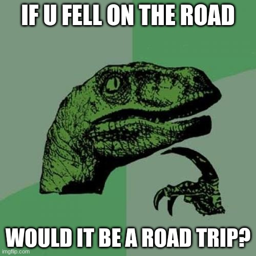 Philosoraptor |  IF U FELL ON THE ROAD; WOULD IT BE A ROAD TRIP? | image tagged in memes,philosoraptor | made w/ Imgflip meme maker