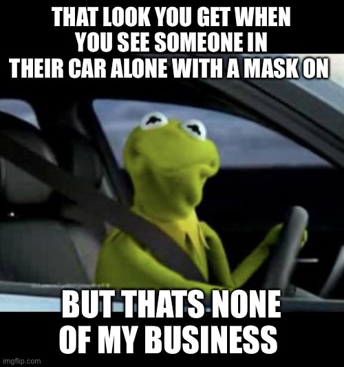 Kermit Driving |  THAT LOOK YOU GET WHEN YOU SEE SOMEONE IN THEIR CAR ALONE WITH A MASK ON; BUT THATS NONE OF MY BUSINESS | image tagged in kermit driving | made w/ Imgflip meme maker