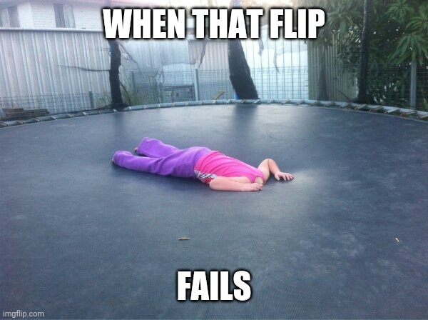 DO A FLIP |  WHEN THAT FLIP; FAILS | image tagged in fail,trampoline,flip | made w/ Imgflip meme maker