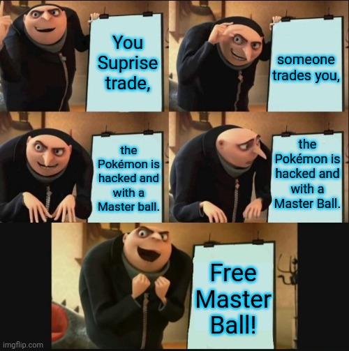Wonder/Suprise Trading |  You Suprise trade, someone trades you, the Pokémon is hacked and with a Master Ball. the Pokémon is hacked and with a Master ball. Free Master Ball! | image tagged in gru's plan 5 panel editon,pokemon,trading | made w/ Imgflip meme maker