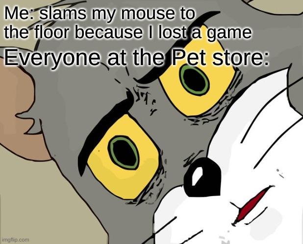 Unsettled Tom |  Me: slams my mouse to the floor because I lost a game; Everyone at the Pet store: | image tagged in memes,unsettled tom,mouse,pet store | made w/ Imgflip meme maker