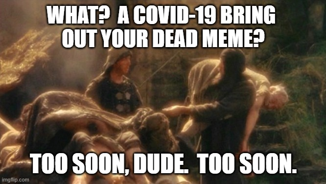 Too Soon, Dude.  Too Soon |  WHAT?  A COVID-19 BRING  OUT YOUR DEAD MEME? TOO SOON, DUDE.  TOO SOON. | image tagged in holy grail bring out your dead memes,covid-19,coronavirus,meme,bad taste,evil | made w/ Imgflip meme maker