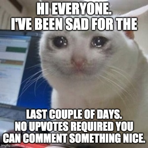 It's true |  HI EVERYONE. I'VE BEEN SAD FOR THE; LAST COUPLE OF DAYS. NO UPVOTES REQUIRED YOU CAN COMMENT SOMETHING NICE. | image tagged in crying cat,suicide,nice | made w/ Imgflip meme maker