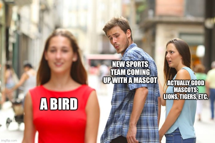 Sports Meme |  NEW SPORTS TEAM COMING UP WITH A MASCOT; ACTUALLY GOOD MASCOTS; LIONS, TIGERS, ETC. A BIRD | image tagged in sports,mascots | made w/ Imgflip meme maker