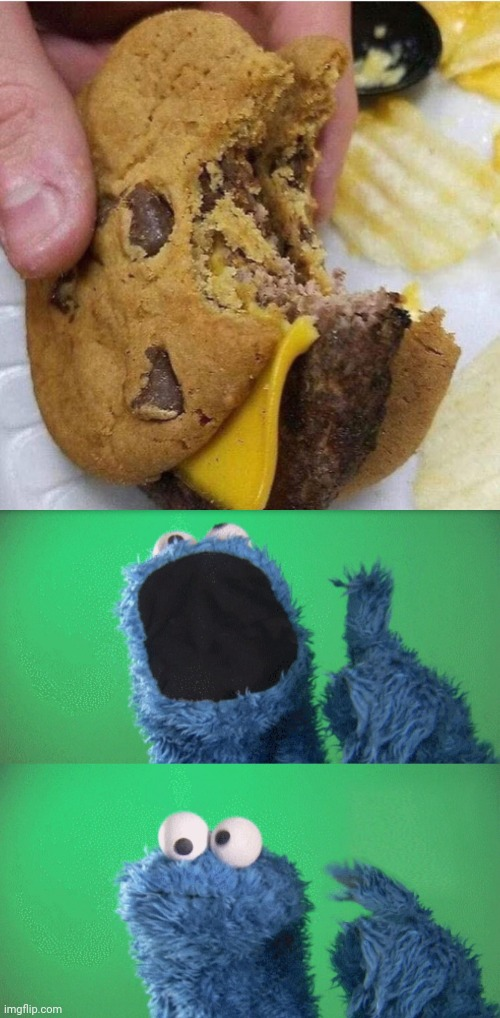 The chocolate chip cookie cheeseburger | image tagged in cookie monster wait what,cookies,cheeseburger,funny,memes,meme | made w/ Imgflip meme maker