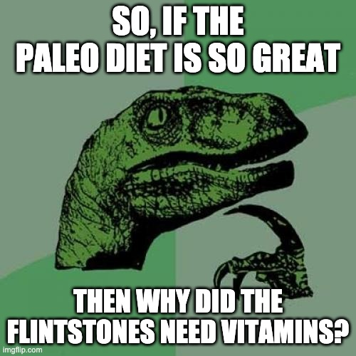 Paleo Diet |  SO, IF THE PALEO DIET IS SO GREAT; THEN WHY DID THE FLINTSTONES NEED VITAMINS? | image tagged in memes,philosoraptor | made w/ Imgflip meme maker