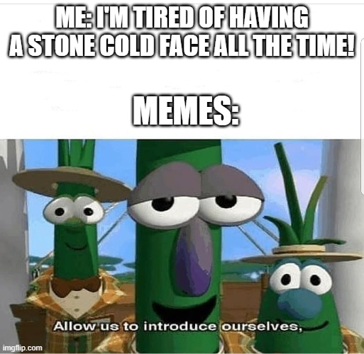 Allow us to introduce ourselves |  ME: I'M TIRED OF HAVING A STONE COLD FACE ALL THE TIME! MEMES: | image tagged in allow us to introduce ourselves | made w/ Imgflip meme maker