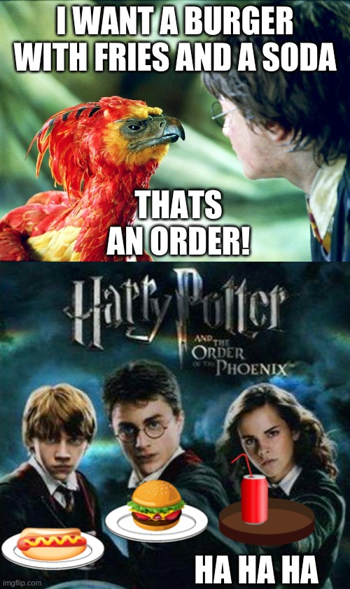 order of the phoenix |  I WANT A BURGER WITH FRIES AND A SODA; THATS AN ORDER! HA HA HA | image tagged in harry potter,harry potter meme,funny memes,birds,phoenix harry potter,phoenix | made w/ Imgflip meme maker