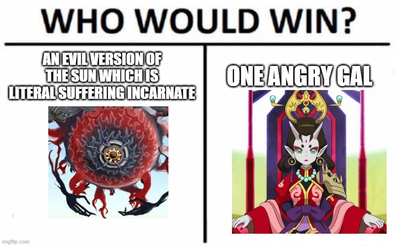 Who Would Win? |  AN EVIL VERSION OF THE SUN WHICH IS LITERAL SUFFERING INCARNATE; ONE ANGRY GAL | image tagged in memes,who would win | made w/ Imgflip meme maker