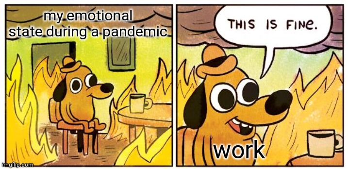 work |  my emotional state during a pandemic; work | image tagged in memes,this is fine,coronavirus,pandemic | made w/ Imgflip meme maker