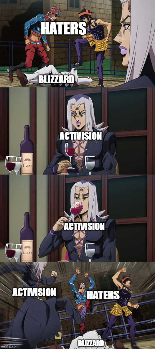 Blizzard + Activision |  HATERS; BLIZZARD; ACTIVISION; ACTIVISION; ACTIVISION; HATERS; BLIZZARD | image tagged in abbacchio joins in the fun | made w/ Imgflip meme maker