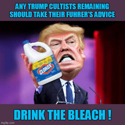 Jim Jones had Jonestown; Little Donny should establish Trumptown, where the drinks are free! |  ANY TRUMP CULTISTS REMAINING SHOULD TAKE THEIR FUHRER'S ADVICE; DRINK THE BLEACH ! | image tagged in trump unfit unqualified dangerous,cult,poison,fools,trump supporters,morons | made w/ Imgflip meme maker