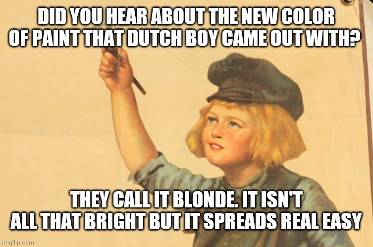 Dutchboy |  DID YOU HEAR ABOUT THE NEW COLOR OF PAINT THAT DUTCH BOY CAME OUT WITH? THEY CALL IT BLONDE. IT ISN'T ALL THAT BRIGHT BUT IT SPREADS REAL EASY | image tagged in paint | made w/ Imgflip meme maker
