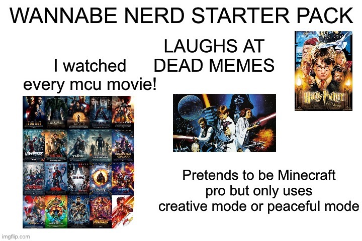 Wannabe nerd starterpack | image tagged in x starter pack | made w/ Imgflip meme maker