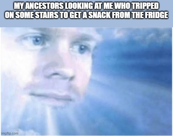 I just wanted a snack though... |  MY ANCESTORS LOOKING AT ME WHO TRIPPED ON SOME STAIRS TO GET A SNACK FROM THE FRIDGE | image tagged in in heaven looking down,snacks,epic fail | made w/ Imgflip meme maker