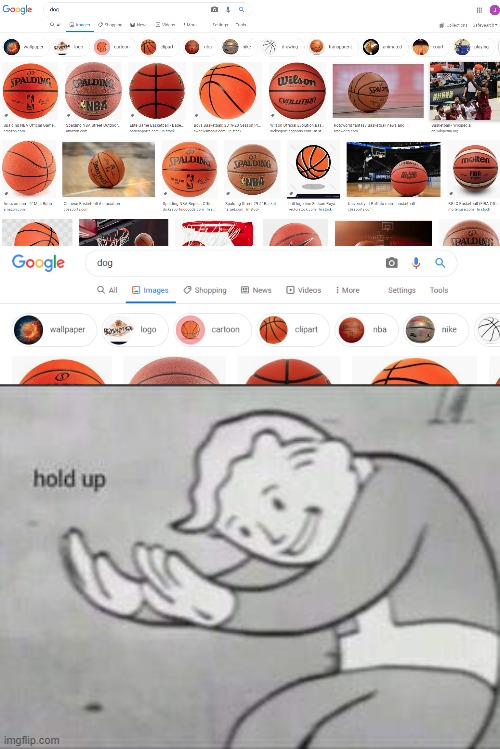 Uhhh... Google? | image tagged in fallout hold up,basketball,funny,google images,google,google search | made w/ Imgflip meme maker