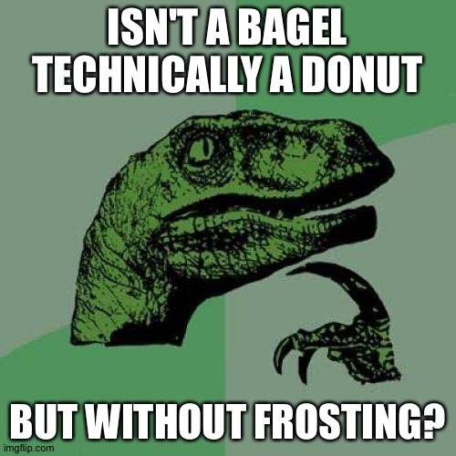 Think about it for a minute. |  ISN'T A BAGEL TECHNICALLY A DONUT; BUT WITHOUT FROSTING? | image tagged in memes,philosoraptor,donuts,bagels | made w/ Imgflip meme maker