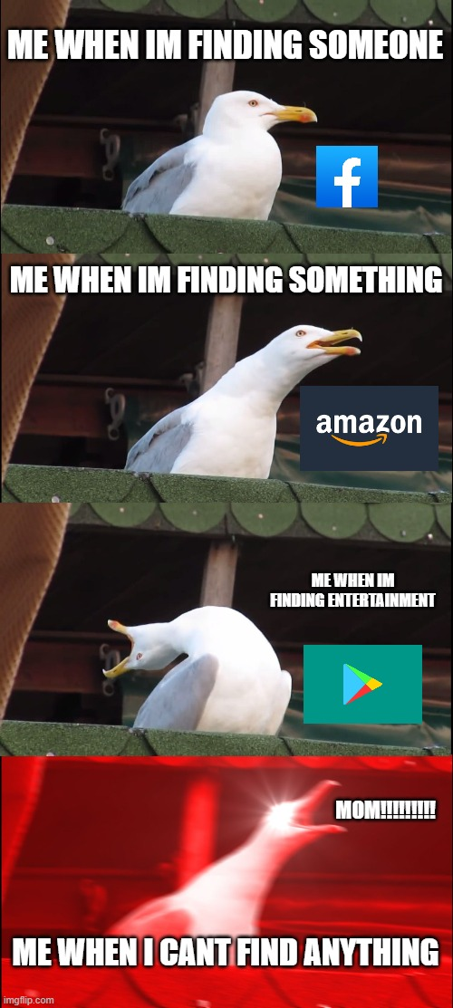 its true |  ME WHEN IM FINDING SOMEONE; ME WHEN IM FINDING SOMETHING; ME WHEN IM FINDING ENTERTAINMENT; MOM!!!!!!!!! ME WHEN I CANT FIND ANYTHING | image tagged in memes,inhaling seagull,apps,facebook,playstore,amazon | made w/ Imgflip meme maker