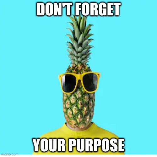 The Pineapple |  DON'T FORGET; YOUR PURPOSE | image tagged in inspirational quote | made w/ Imgflip meme maker