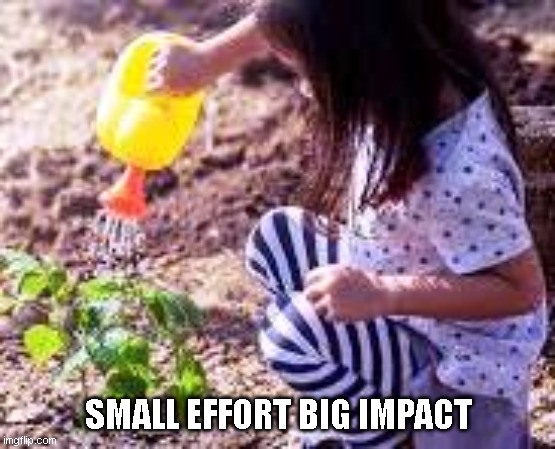 SMALL EFFORT BIG IMPACT | image tagged in motivation,motivational,holy spirit | made w/ Imgflip meme maker