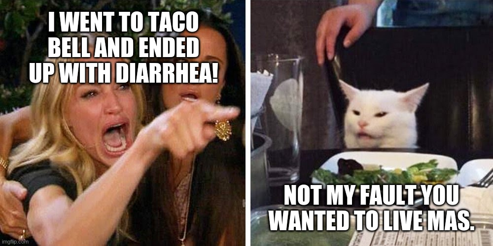 Live Mas Uh Oh |  I WENT TO TACO BELL AND ENDED UP WITH DIARRHEA! NOT MY FAULT YOU WANTED TO LIVE MAS. | image tagged in smudge the cat,woman yelling at cat,smudge,memes,white cat table | made w/ Imgflip meme maker