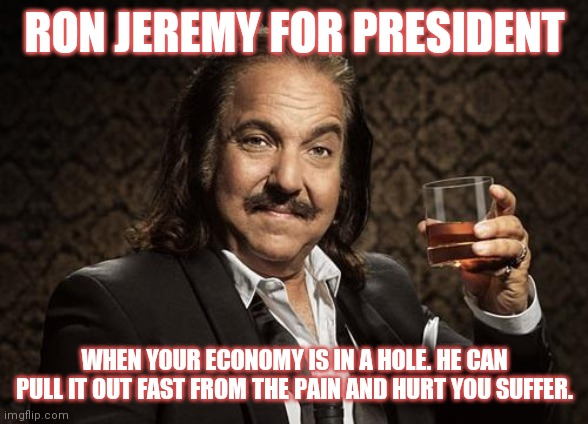 ron jeremy |  RON JEREMY FOR PRESIDENT; WHEN YOUR ECONOMY IS IN A HOLE. HE CAN PULL IT OUT FAST FROM THE PAIN AND HURT YOU SUFFER. | image tagged in ron jeremy,president,economy,hole,painful | made w/ Imgflip meme maker