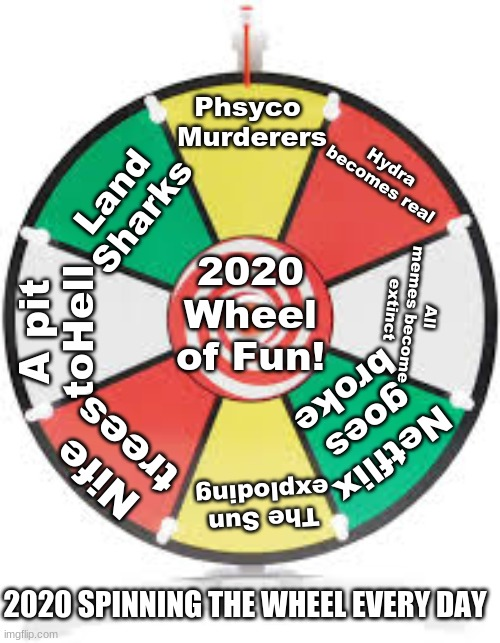 Wheel of 2020 |  Phsyco  Murderers; Hydra becomes real; Land Sharks; 2020 Wheel of Fun! All memes become extinct; A pit toHell; Netflix goes broke; Nife trees; The Sun exploding; 2020 SPINNING THE WHEEL EVERY DAY | image tagged in spinning wheel,2020,2020 horror | made w/ Imgflip meme maker