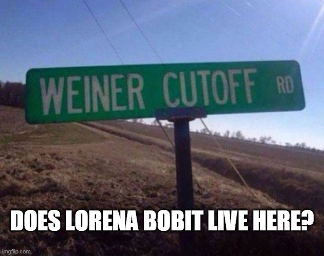 ouch |  DOES LORENA BOBIT LIVE HERE? | image tagged in lorena bobit,weiner,ouch | made w/ Imgflip meme maker