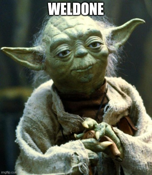 WELDONE | image tagged in memes,star wars yoda | made w/ Imgflip meme maker