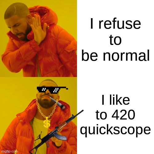 Q U I C K S C O P E |  I refuse to be normal; I like to 420 quickscope | image tagged in 420quickscope | made w/ Imgflip meme maker