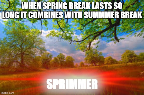 Spring + Summer = Sprimmer |  WHEN SPRING BREAK LASTS SO LONG IT COMBINES WITH SUMMMER BREAK; SPRIMMER | image tagged in spring break,summer vacation,coronavirus | made w/ Imgflip meme maker