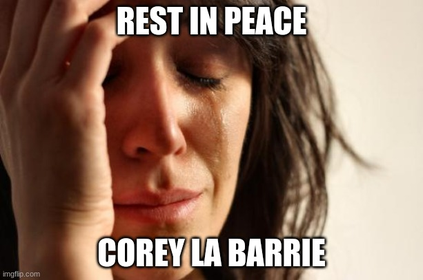 May 10th, 1995 - May 10th, 2020. (as gosh-forsaken irony would have it) |  REST IN PEACE; COREY LA BARRIE | image tagged in memes,first world problems,rip,rest in peace,youtubers | made w/ Imgflip meme maker