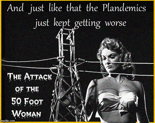 ...and just like that ....the Plandemics got worse | image tagged in plandemics,pandemic,attack of the 50 foot woman,lol,funny memes,true story | made w/ Imgflip meme maker