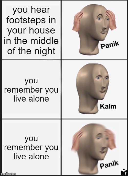 Panik Kalm Panik |  you hear footsteps in your house in the middle of the night; you remember you live alone; you remember you live alone | image tagged in memes,panik kalm panik | made w/ Imgflip meme maker