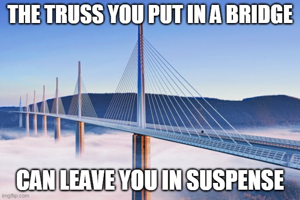 Bridge |  THE TRUSS YOU PUT IN A BRIDGE; CAN LEAVE YOU IN SUSPENSE | image tagged in bridge | made w/ Imgflip meme maker