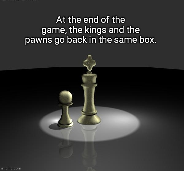 At the end of the game, the kings and the pawns go back in the same box. | image tagged in chess,equality | made w/ Imgflip meme maker