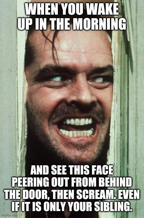 Here's Johnny |  WHEN YOU WAKE UP IN THE MORNING; AND SEE THIS FACE PEERING OUT FROM BEHIND THE DOOR, THEN SCREAM. EVEN IF IT IS ONLY YOUR SIBLING. | image tagged in memes,here's johnny | made w/ Imgflip meme maker