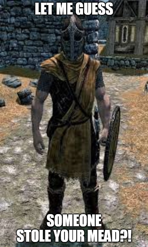 LET ME GUESS; SOMEONE STOLE YOUR MEAD?! | image tagged in skyrim guard | made w/ Imgflip meme maker