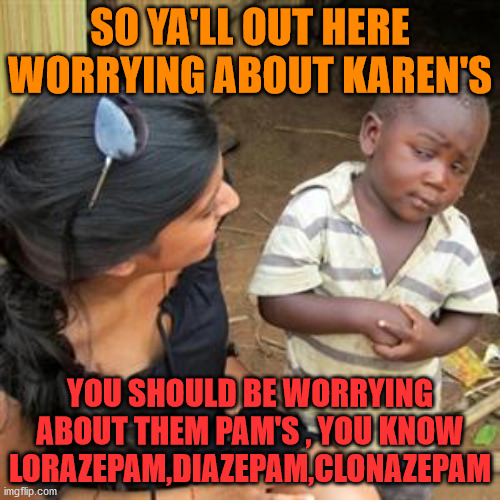 watch out for them pams |  SO YA'LL OUT HERE WORRYING ABOUT KAREN'S; YOU SHOULD BE WORRYING ABOUT THEM PAM'S , YOU KNOW LORAZEPAM,DIAZEPAM,CLONAZEPAM | image tagged in so youre telling me | made w/ Imgflip meme maker