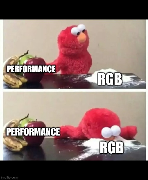 elmo |  PERFORMANCE; RGB; PERFORMANCE; RGB | image tagged in elmo | made w/ Imgflip meme maker