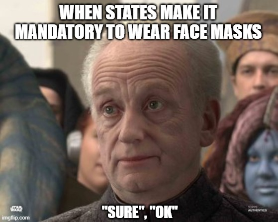 "Face Mask |  WHEN STATES MAKE IT MANDATORY TO WEAR FACE MASKS; ""SURE"", ""OK"" 
