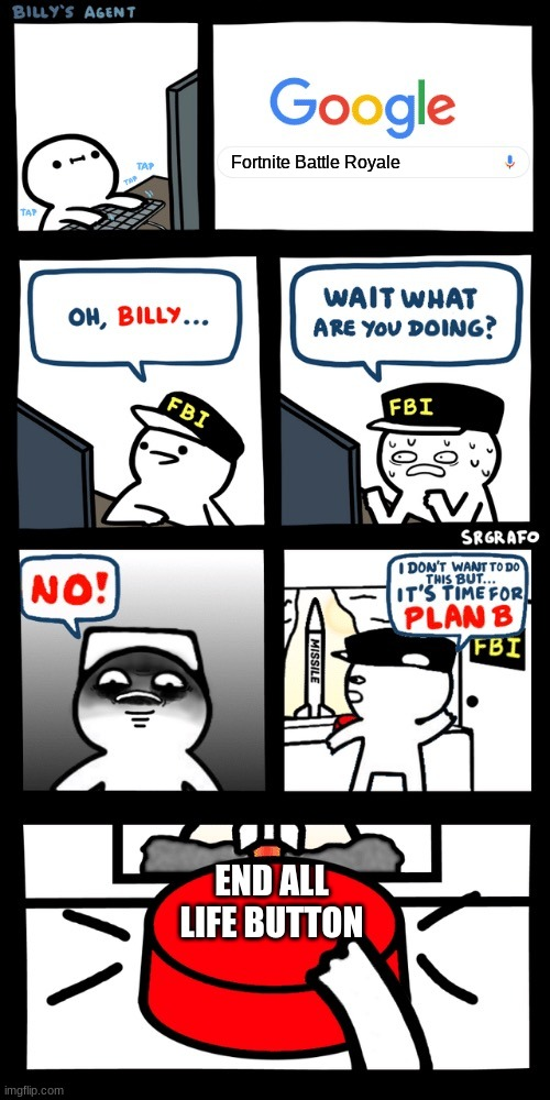 Billy's FBI agent plan B |  Fortnite Battle Royale; END ALL LIFE BUTTON | image tagged in billys fbi agent plan b | made w/ Imgflip meme maker