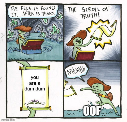 The truth |  you are a dum dum; OOF | image tagged in memes,the scroll of truth | made w/ Imgflip meme maker