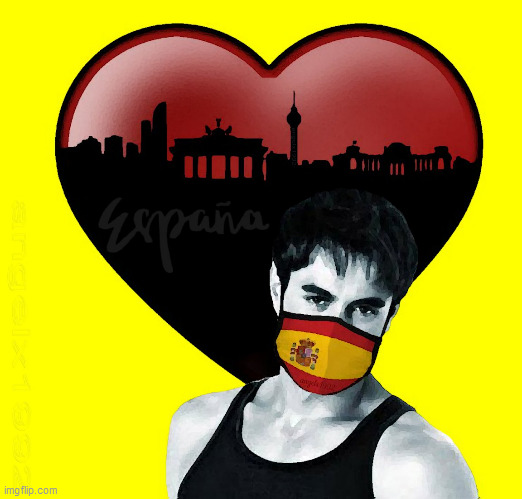 image tagged in coronavirus,spain,covid-19,masks,enrique iglesias,art | made w/ Imgflip meme maker