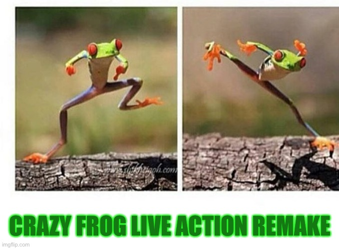 Make it happen |  CRAZY FROG LIVE ACTION REMAKE | image tagged in crazy frog,frog,funny,memes | made w/ Imgflip meme maker