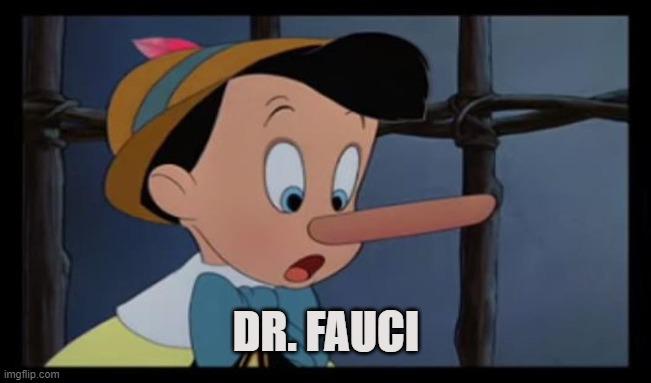 Dr. Pinocchio |  DR. FAUCI | image tagged in trump,fauci,covid-19,coronavirus,science,lockdown | made w/ Imgflip meme maker