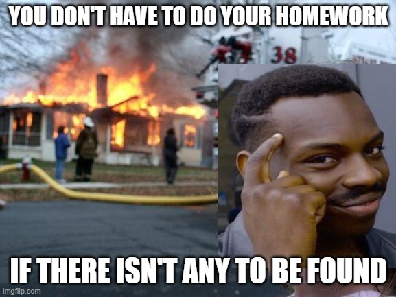 Disaster Girl Meme |  YOU DON'T HAVE TO DO YOUR HOMEWORK; IF THERE ISN'T ANY TO BE FOUND | image tagged in memes,funny,homework,fire | made w/ Imgflip meme maker