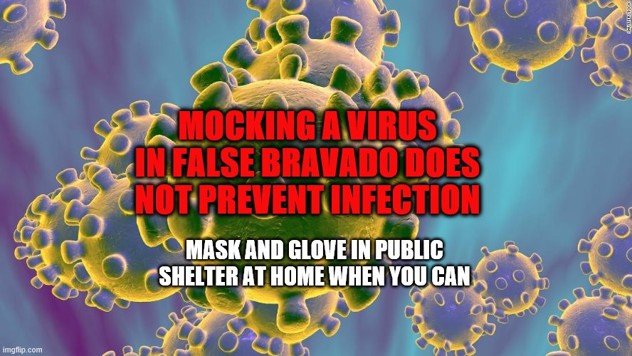 Coronavirus |  MOCKING A VIRUS IN FALSE BRAVADO DOES NOT PREVENT INFECTION; MASK AND GLOVE IN PUBLIC SHELTER AT HOME WHEN YOU CAN | image tagged in coronavirus,mocking,false bravado,public health,trump,virus | made w/ Imgflip meme maker