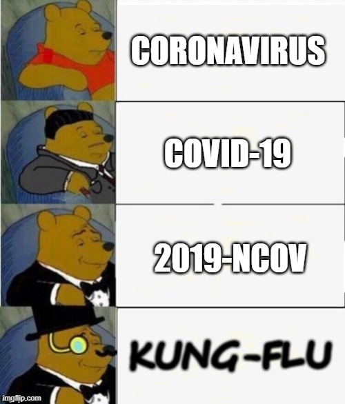 covid |  CORONAVIRUS; COVID-19; 2019-NCOV; KUNG-FLU | image tagged in tuxedo winnie the pooh 4 panel,coronavirus,covid-19,2019-ncov,kung flu | made w/ Imgflip meme maker