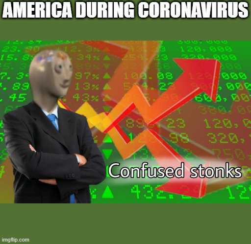 tis true |  AMERICA DURING CORONAVIRUS | image tagged in confused stonks | made w/ Imgflip meme maker